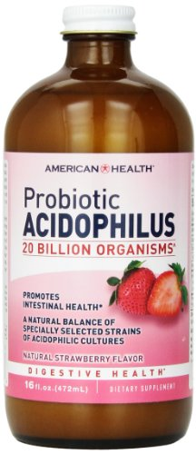 American Health Probiotic Acidophilus Liquid, Strawberry, 16 Ounce -