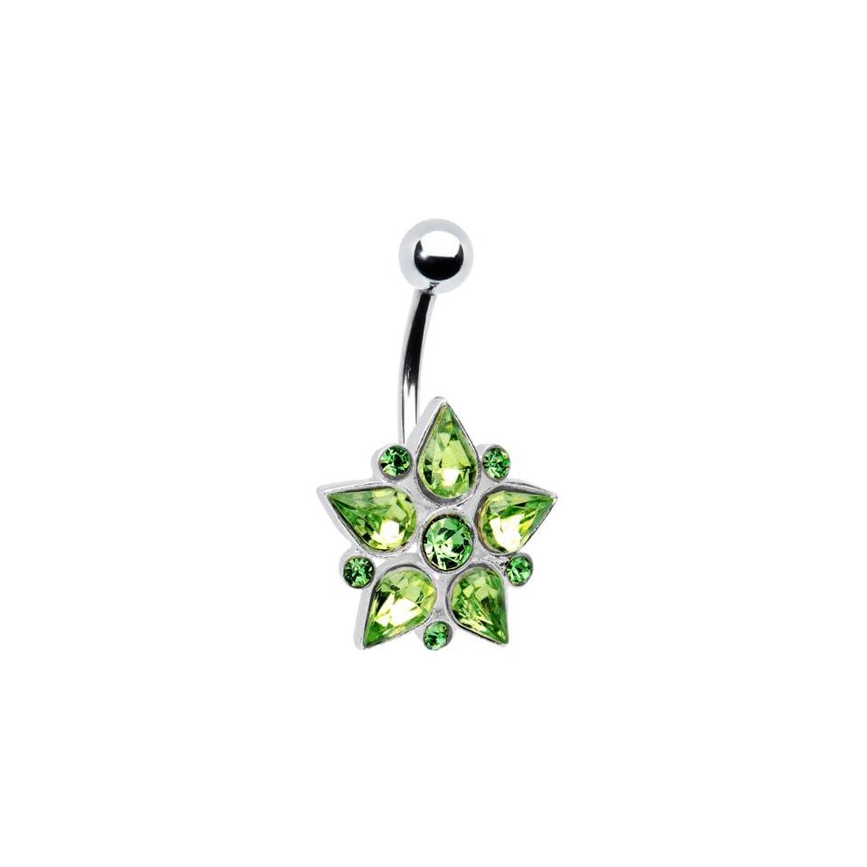 Green Gem Teardrop Flower Belly Ring