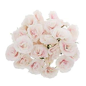 MARJON FlowersPack of 50Pieces Flower Heads Roses Bulk Bridal Shower Decorations Wedding Home DIY Favor - Pink White 27