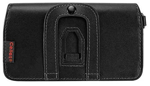 Executive Side Load Stitched Leather Case Pouch With Spring And Swivel Clip For LG Enact Black