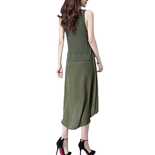 Casual Allentato Jingliya Senza Maglia Maniche Delle Green Sundress Donne Dress Estate Chiffon cWpzcnvO6