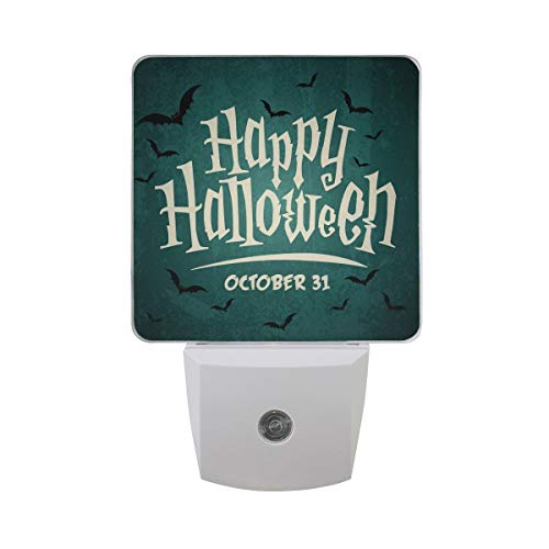 Happy Halloween October 31 Party with Scary Bat Auto Sensor LED Dusk to Dawn Night Light Plug in Indoor for Kids Baby Girls Boys Adults Room -