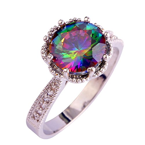 Veunora 925 Sterling Silver Created Rainbow Topaz Filled Promise Ring for Women Size 8
