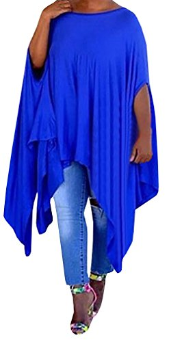 Farktop Womens Plus Size Asymmertric Loose Tunic Tops Phocho Cape Blouse