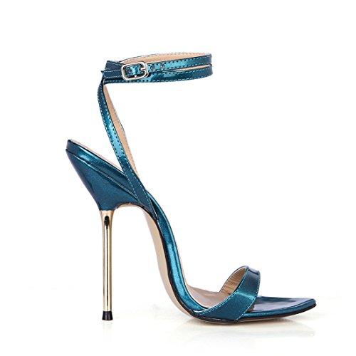 Rond bleu Sexy Aiguille Vernis Bout CHAU Sandales Stiletto Femmes CHMILE Bride Coloris de Cheville Métal Haut Plusieurs Talon qTZUw