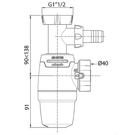 Wirquin Pro sifón de fregadero Neo Air diámetro 40 mm, con toma ...