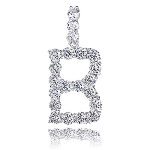 GUCY Hip Hop Jewelry Tennis Letters Pendant Chain Iced Out CZ Lab Diamond Letter Chains Custom Necklace Name for Men Women(Silver B, 24)
