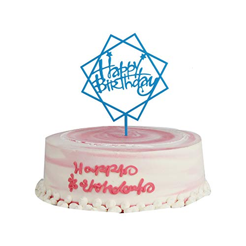 - YUINYO Happy Birthday Cake Topper Blue Birthday Party Decoration Supplies quality Top Beautiful Acrylic Cake Decoration Sign Party Banner