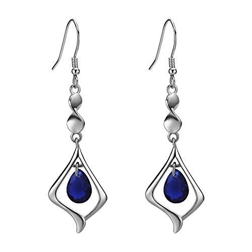 (Purple Gemstone Gold Plate 925 Sterling Silver Drop Earrings for women (sapphire blue) )