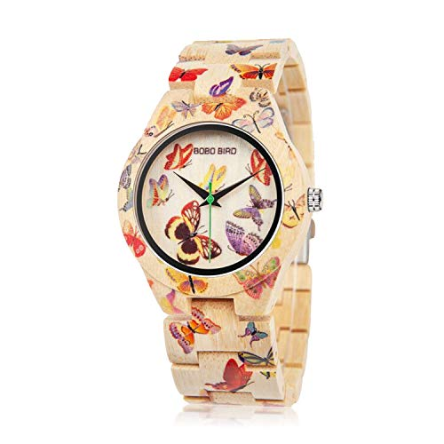 BOBO BIRD Women's Bamboo Watch Butterfly Engraved Handmade Wooden Casual Watches (Butterfly Watches)