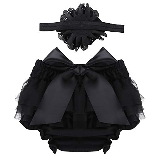 ACSUSS Newborn Baby Girls Photo Shoot Props Ruffled Cake Smash Bloomer with Headband Outfits Black 0-3 Months