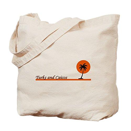 CafePress–turksandcaicosblkplm–Gamuza de bolsa de lona bolsa, bolsa de la compra