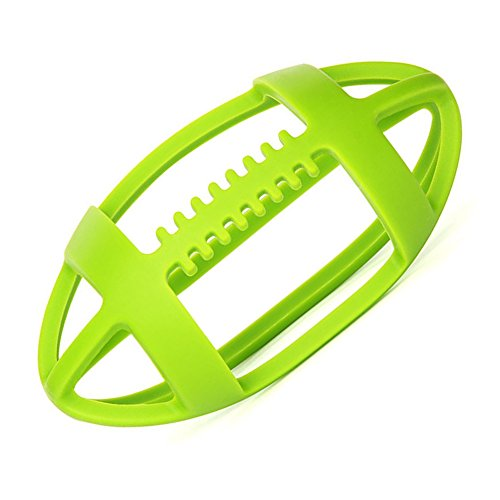 V-TOP Baby Sensory Teething Toy Ball, Rugby Chewable Teether Easy to Catch Activity Ball for Toddles (Green Rugby) - Baby Rugby