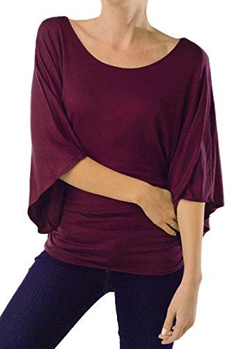 Kimono Sleeve Knit Tunic Top (2LUV Women's 3/4 Kimono Sleeve Knit Tunic Top Wine XL)