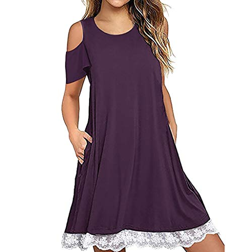 Todaies Women Casual Lace Dress, O Neck Short Sleeve Above Knee Dress Loose Party Dress (S, Purple)