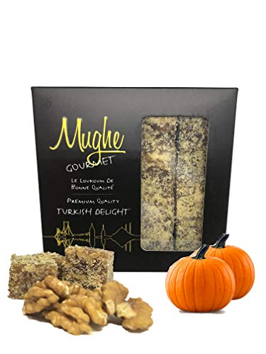Luxury Turkish Delight with Pumpkin and Walnuts 16 oz (16-18 pcs) Gift Box - Mughe Gourmet Honey Pumpkin Walnut Sweet Confectionery Delights - Gluten Free and Vegan Most Prestigious Gifts Sweets Candy