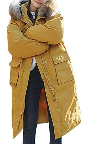 today-UK Women Down Puffer Jacket Faux Fur Hoodie Outwear Winter Wear Yellow