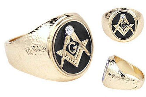 .05 cw CZ Enamel 14k Gold Overlay Black Enamel Men's (Enamel Masonic Ring)