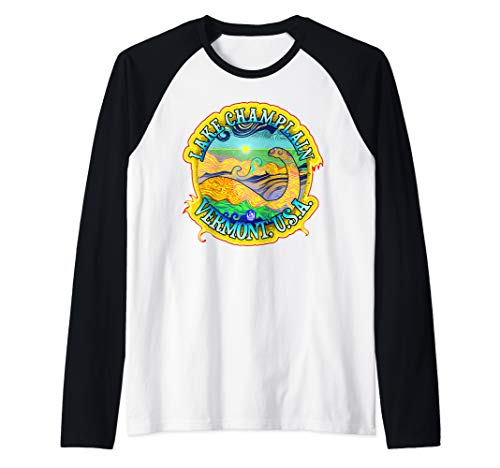 Champ; Lake Champlain Vermont USA Champy Monster Serpent Raglan Baseball Tee