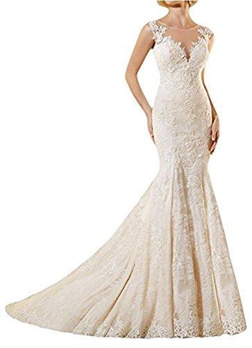 VEPYCLY Women's Exquisite Sleeveless Mermaid Lace Ivory Bridal Wedding Dress Custom Ivory 8