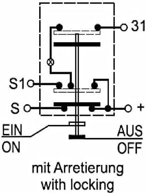 Druckschalter Mit Arretierung Schalter Arbeitsscheinwerfer Artikel Nr Km 10 04 0025 Same Deutz Fahr Nr 01145154 Auto