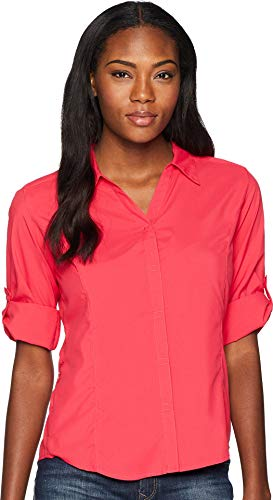 Royal Robbins Women's Expedition Dry Stretch 3/4 Sleeve Shirt, Rose Red, ()