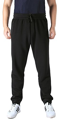 Mrignt Mens Running Jogging Pants Drawstring Fleece Sweatpants(Black,X-Large)
