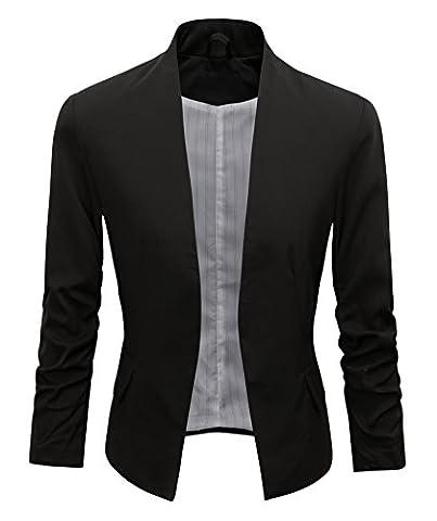 Women's Folding Sleeve Office Blazer (L, Black) (Office Coat)