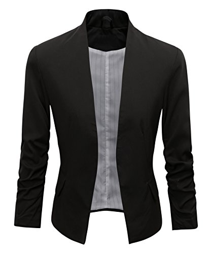 Women's Folding Sleeve Office Blazer (TG00000 Black, M)