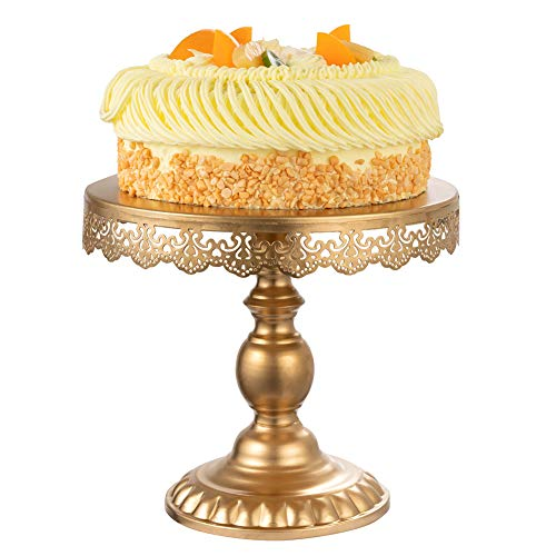 Vintage Cake Stand Round Cake Plate Stands Gold Cupcake Display Holder Serving Platter Dessert Trays with Flower Rim for Wedding Baby Shower Birthday Party Celebration