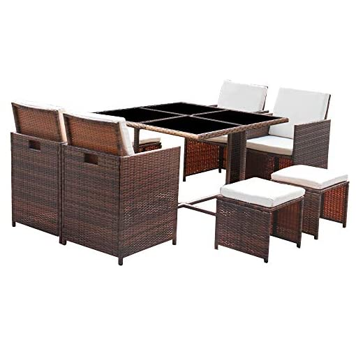 Garden and Outdoor Homall 9 Pieces Patio Dining Sets Outdoor Furniture Patio Wicker Rattan Chairs and Tempered Glass Table Sectional Set… patio dining sets