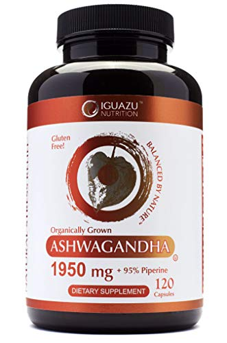 100% Organic Ashwagandha Root Powder 1950mg | 120 Vegan Capsules | with Black Pepper Extract Ashwaganda Promotes Anxiety Relief, Thyroid, Cortisol Support | Anti-Anxiety | Adrenal Fatigue Supplements