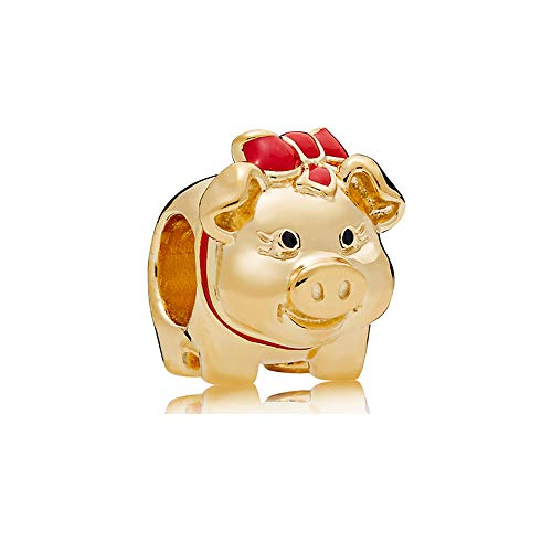 Piggy Bank Charm Authentic 925 Sterling Silver Lucky Animal Beads fit Pandora Bracelets Necklace (Rose Gold & Red Enamel) (Enamel Bracelets Gold Designer)