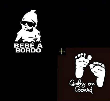 Kit de 2 Pegatinas Bebé a Bordo para el Coche - Pies Bebe + ...