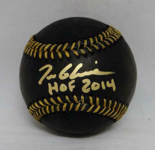 (Signed Tom Glavine Ball - Rawlings OML Black W HOF - PSA/DNA Certified - Autographed Baseballs)