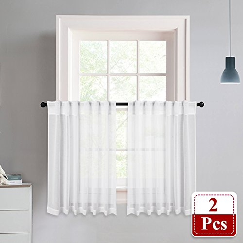 NICETOWN Linen Textured Look Sheer Curtains - White Half Window Tiers Semi Voile Sheer Panel Drapes for Kitchen/Cafe, 55