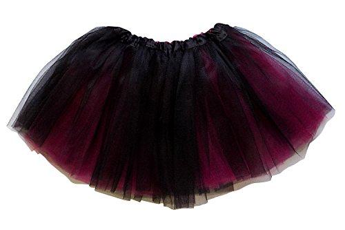 So Sydney Reversible 2 Color Ballerina Girls Princess Costume Dance Tutu Skirt (Black & Hot Pink) (Black And Pink Costumes)