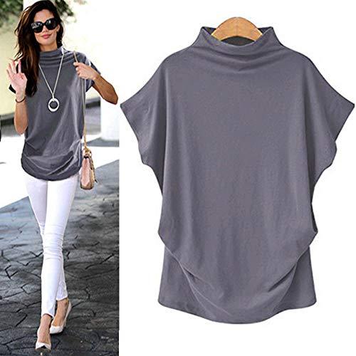 (COOKI Women Shirts Turtleneck Short Sleeve Cotton Blouse T Shirt Casual Loose Tunic Tops Gray)