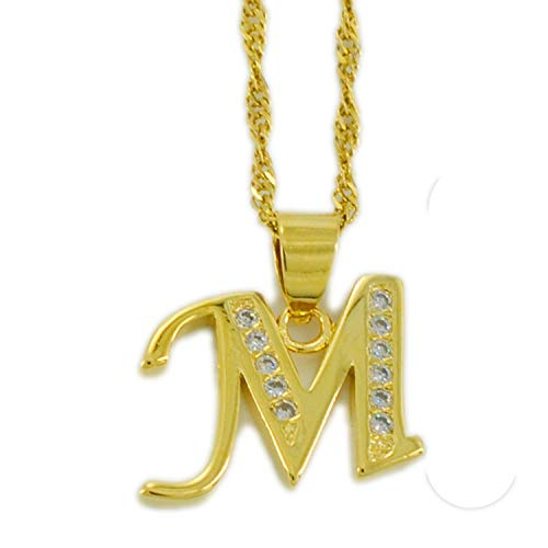 A-Z Letters Necklaces Gold Color Alphabet Initial Pendant Chain Women Girl Cubic Zirconia English Letter Jewelry,S1,45cm Thin Chain