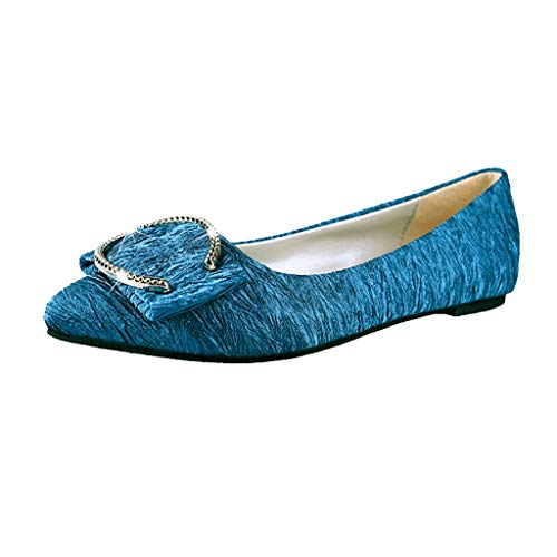 Caopixx Womens Flats Casual Comfortable Chic Ballet Flat Shoes Slip-on Fashion Loafer Blue