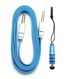 Emartbuy® Aux Pack Für Samsung Galaxy S3 I9300 mit Blau Metallic Mini Eingabestift und Blau Flacheses Knotenfreies Stereo Aux Kabel 3,5 mm Stecker