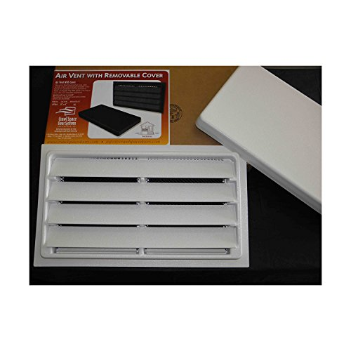 Crawl Space Manual Air Vent with Removable Cover and Vermin Screen - 8''x16'' (White) by Crawl Space Doors Systems