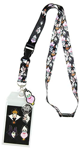 Disney Villains Line Up Collage Lanyard with ID Holder and Rubber Ursula Charm