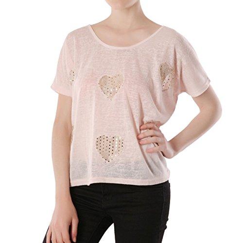 La Modeuse-Camiseta, diseño de efecto lino ancho y líquido Rosa