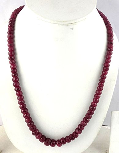 Corundum Ruby (1 Strand Natural Ruby Corundum Faceted Rondelle 6-10.5mm Beads Necklace,Adjustable 16