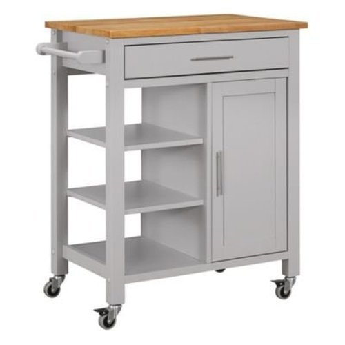 Edmonton Solid Wood and Veneers Mobile Kitchen Cart with Drawer and Lockable Casters (Edmonton Furniture Clearance)