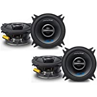 Alpine SPS-410 4 Coaxial 2-Way Speaker Set Bundle