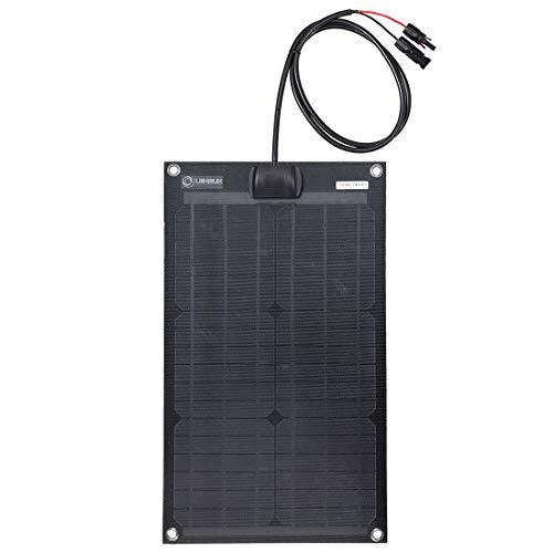 Lensun 30W 12V Black Fiberglass Semi-Flexible Monocrystalline Solar Panel for 12V Charge Battery on Boats, Caravans, Motorhomes, Yachts, RVs (Best Quality Solar Panels)