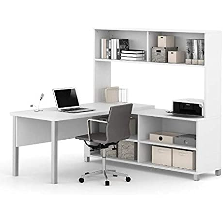 Bestar L Shaped Desk W Hutch 71 W X 71 D X 65 5 8 H Features Bookcase Style Credenza Hutch For Storage 1 5 Thick Commercial Work Surface Desk White