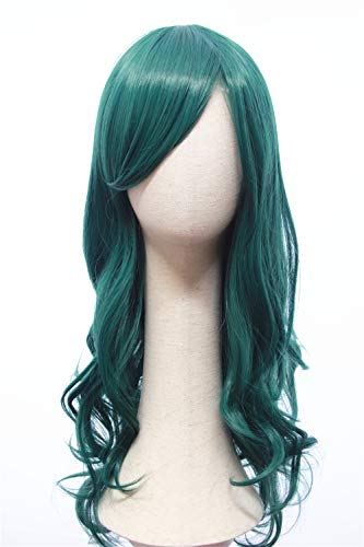 Cosplaywigscom: She-Hulk Wig Inspired of Movie Hulk Long Dark Green Wavy Hair with Bangs for Adults and Teens for $<!--$17.99-->